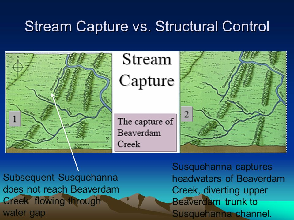 Stream Capture vs. Structural Control Subsequent Susquehanna does not reach Beaverdam Creek flowing through water gap Susquehanna captures headwaters