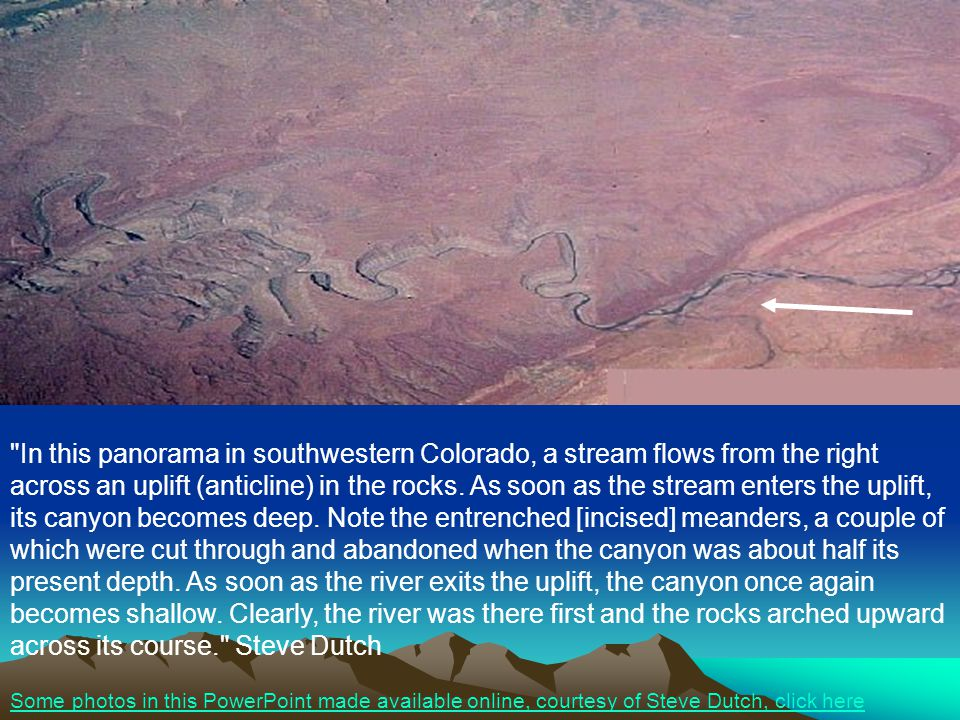 In this panorama in southwestern Colorado, a stream flows from the right across an uplift (anticline) in the rocks.