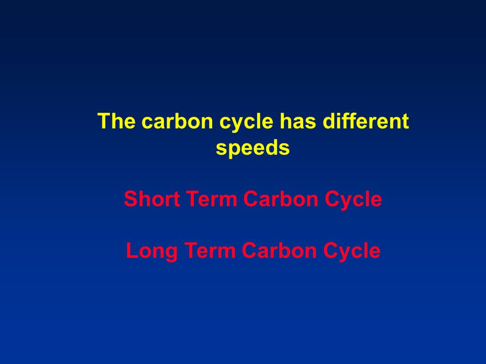 The carbon cycle has different speeds Short Term Carbon Cycle Long Term Carbon Cycle
