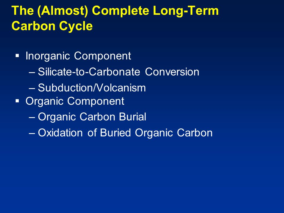 The (Almost) Complete Long-Term Carbon Cycle  Inorganic Component –Silicate-to-Carbonate Conversion –Subduction/Volcanism  Organic Component –Organic Carbon Burial –Oxidation of Buried Organic Carbon
