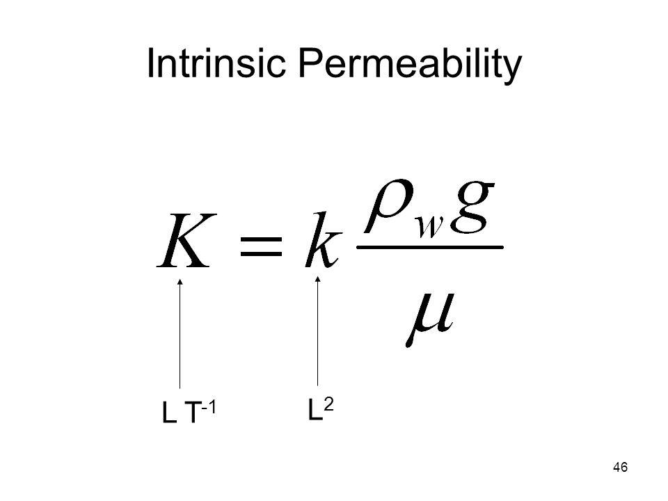 46 Intrinsic Permeability L T -1 L2L2