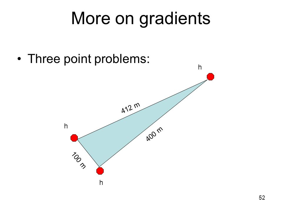 52 More on gradients Three point problems: h h h 400 m 412 m 100 m