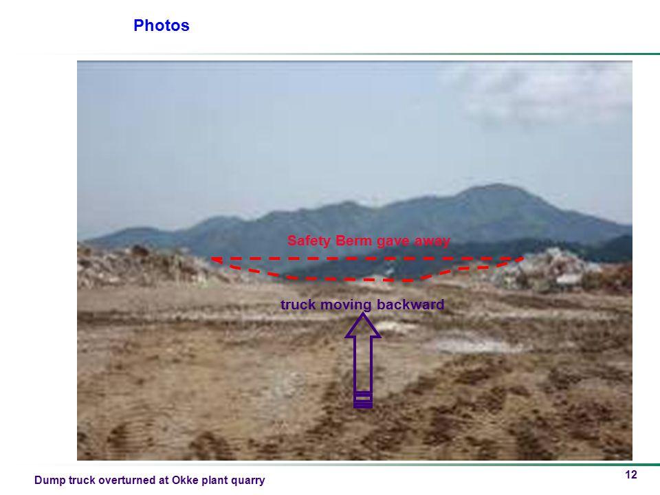 Dump truck overturned at Okke plant quarry 12 Photos Safety Berm gave away truck moving backward