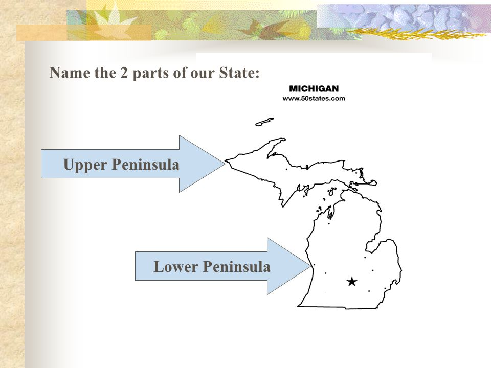 Upper Peninsula Name the 2 parts of our State: Lower Peninsula