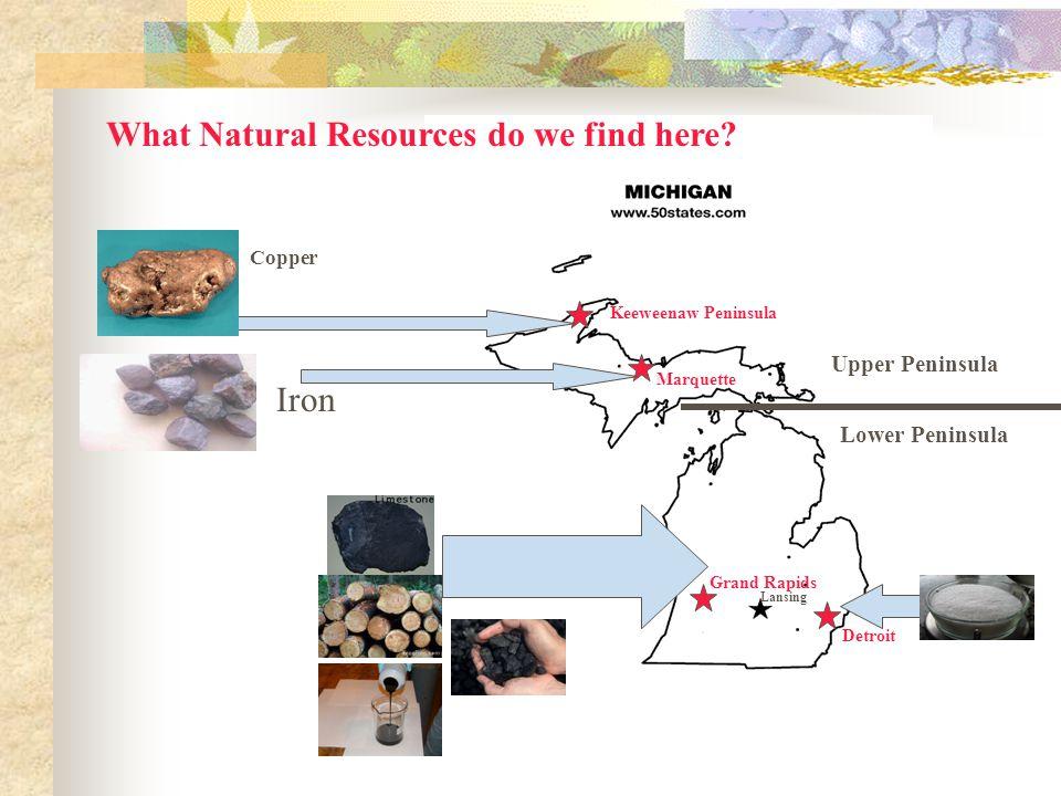 Upper Peninsula Lower Peninsula Lansing Detroit Keeweenaw Peninsula What Natural Resources do we find here.