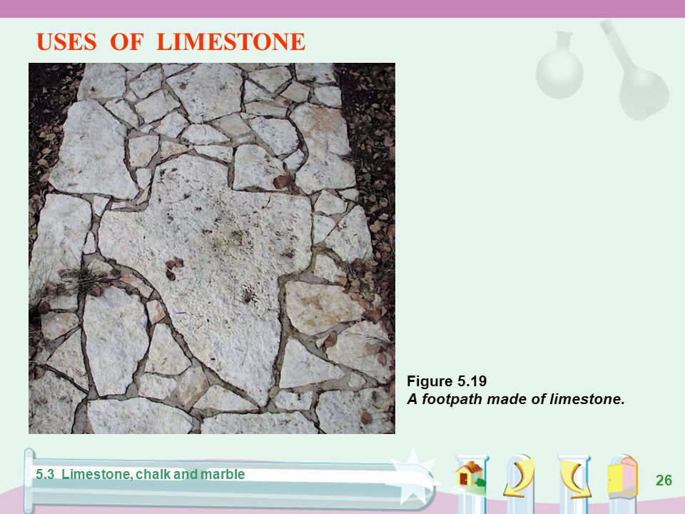 25 Formation of limestone. 5.3 Limestone, chalk and marble