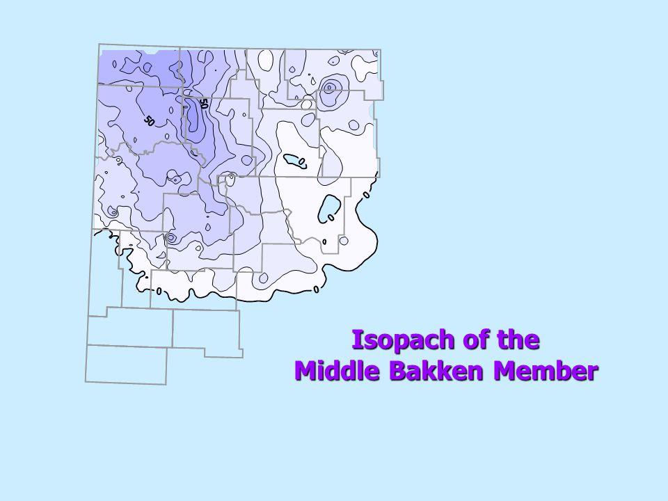 Isopach of the Middle Bakken Member