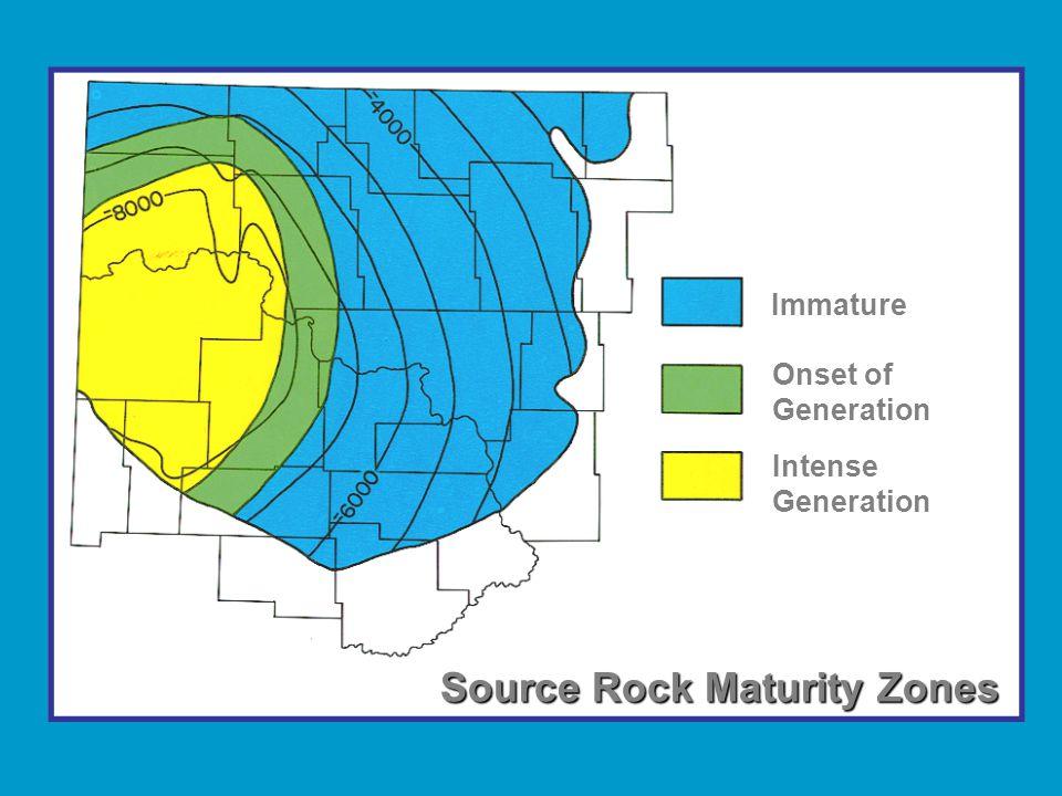 Immature Onset of Generation Intense Generation Source Rock Maturity Zones