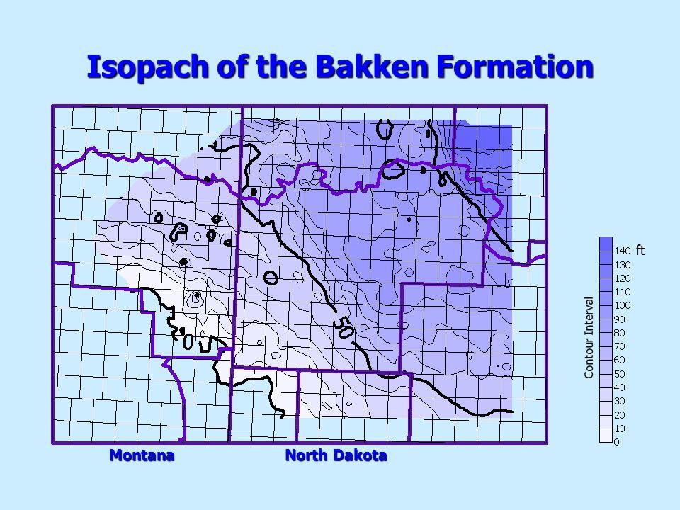 ft Isopach of the Bakken Formation Montana North Dakota Contour Interval