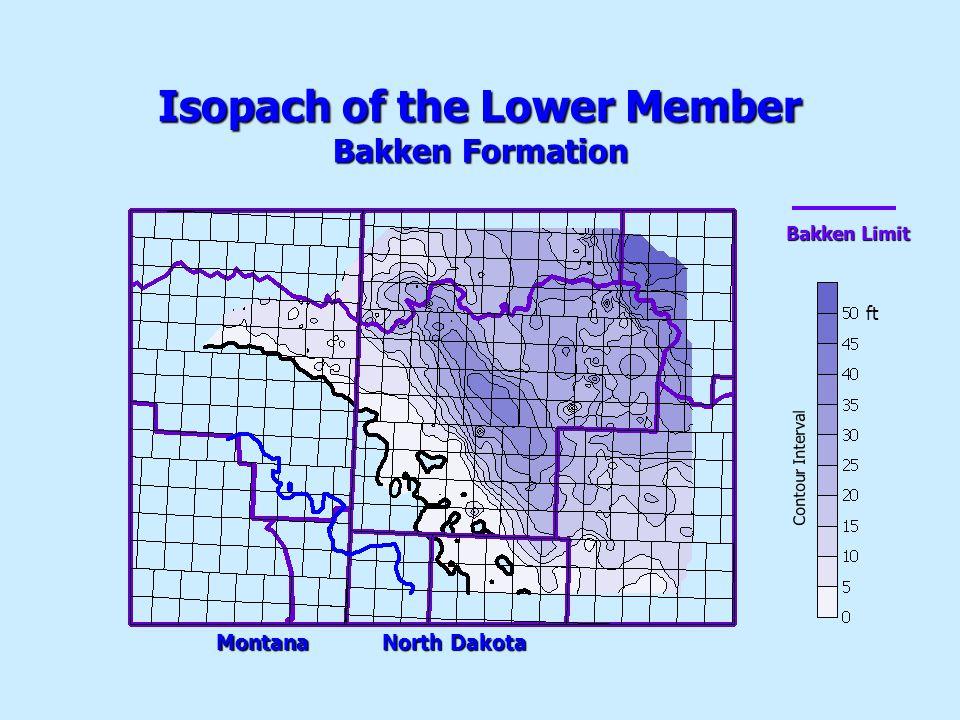 Isopach of the Lower Member Bakken Formation Contour Interval ft Montana North Dakota Bakken Limit