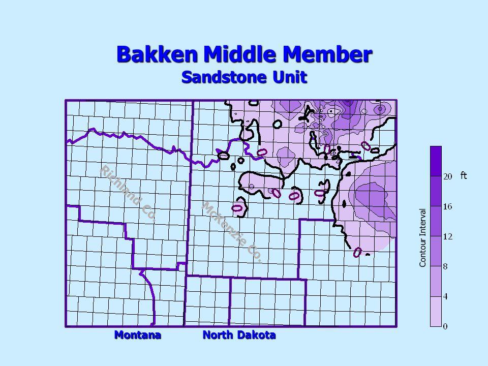 Bakken Middle Member Sandstone Unit Contour Interval ft Montana North Dakota McKenzie Co.