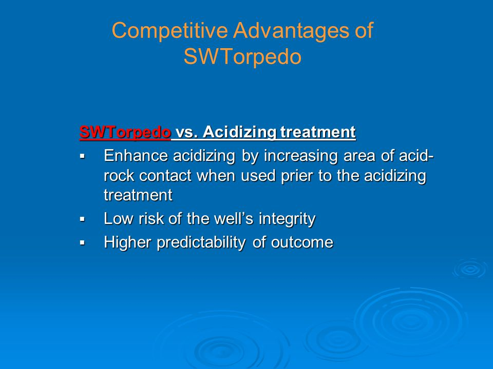 Competitive Advantages of SWTorpedo SWTorpedo vs.