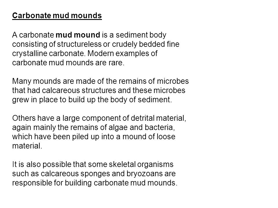 A carbonate mud mound is a sediment body consisting of structureless or crudely bedded fine crystalline carbonate. Modern examples of carbonate mud mo