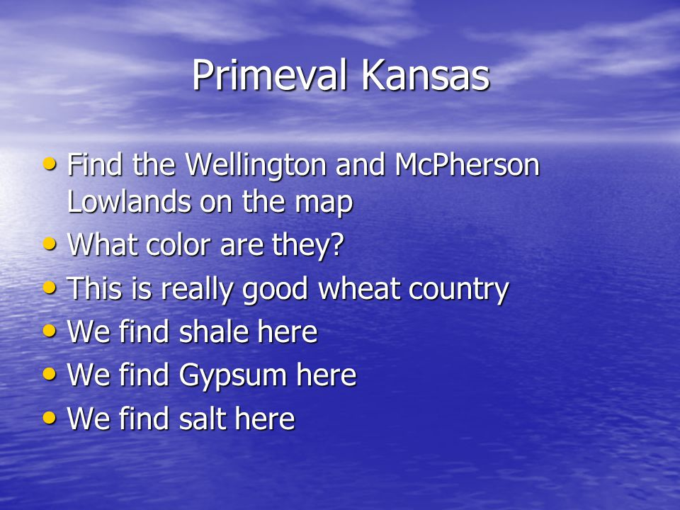 Primeval Kansas Find the Wellington and McPherson Lowlands on the map Find the Wellington and McPherson Lowlands on the map What color are they.