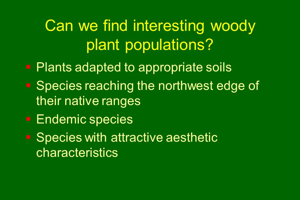 Can we find interesting woody plant populations?  Plants adapted to appropriate soils  Species reaching the northwest edge of their native ranges 