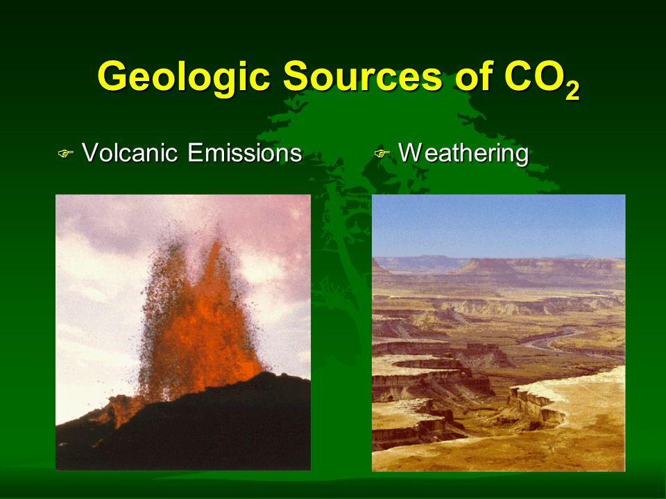 Geologic Sources of CO 2 Geologic Sources of CO 2 F Volcanic Emissions F Weathering