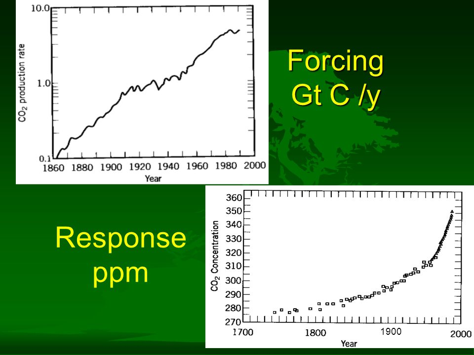 Forcing Gt C /y Response ppm 1900