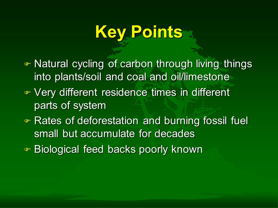 Key Points F Natural cycling of carbon through living things into plants/soil and coal and oil/limestone F Very different residence times in different