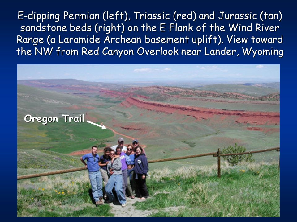E-dipping Permian (left), Triassic (red) and Jurassic (tan) sandstone beds (right) on the E Flank of the Wind River Range (a Laramide Archean basement uplift).