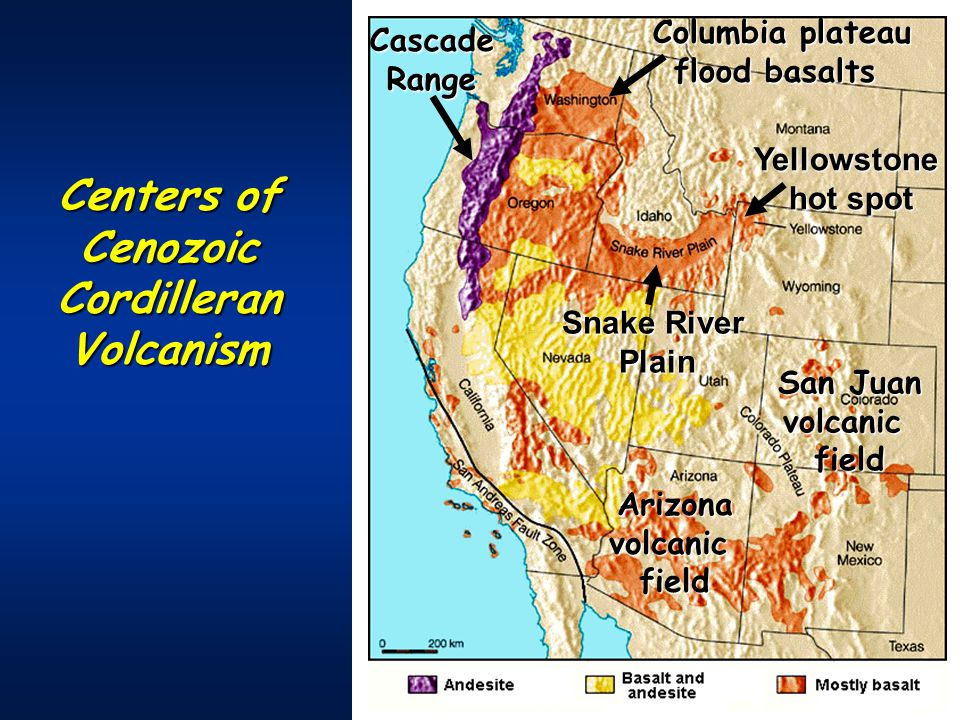 Centers of Cenozoic Cordilleran Volcanism Yellowstone hot spot Columbia plateau flood basalts San Juan volcanicfieldCascadeRangeArizonavolcanicfield Snake River Plain