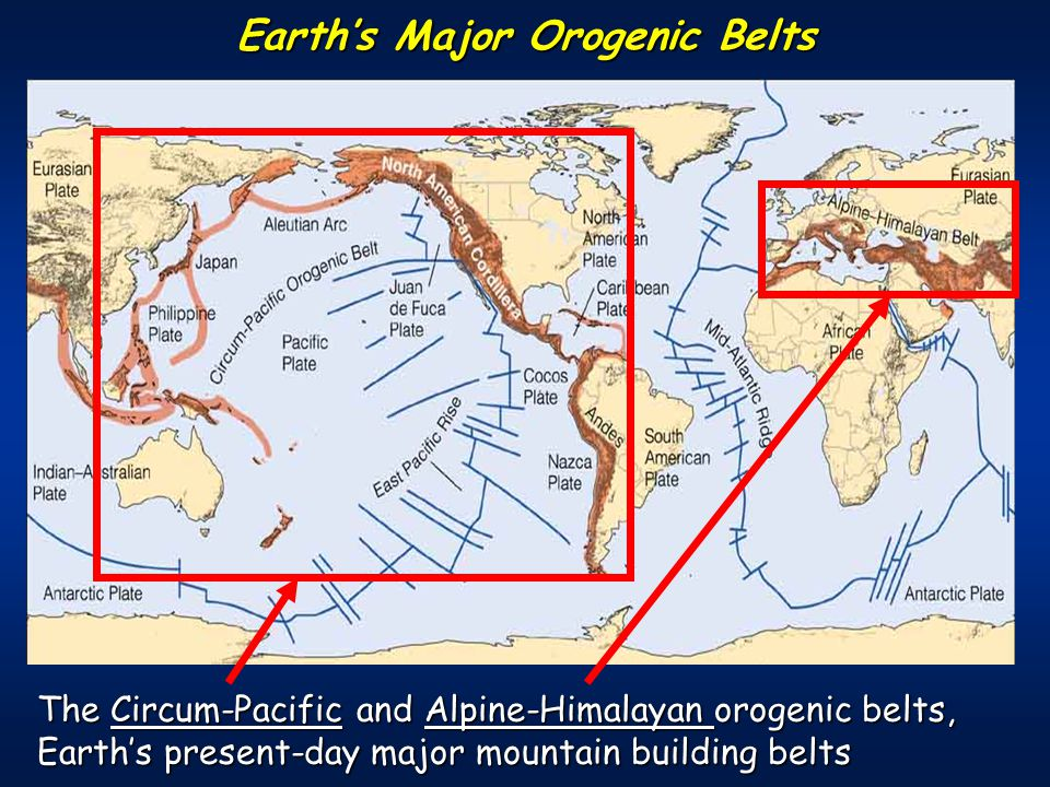The Circum-Pacific and Alpine-Himalayan orogenic belts, Earth's present-day major mountain building belts Earth's Major Orogenic Belts