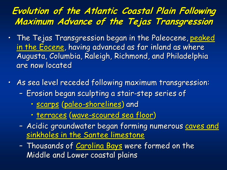 Evolution of the Atlantic Coastal Plain Following Maximum Advance of the Tejas Transgression The Tejas Transgression began in the Paleocene, peaked in the Eocene, having advanced as far inland as where Augusta, Columbia, Raleigh, Richmond, and Philadelphia are now locatedThe Tejas Transgression began in the Paleocene, peaked in the Eocene, having advanced as far inland as where Augusta, Columbia, Raleigh, Richmond, and Philadelphia are now located As sea level receded following maximum transgression:As sea level receded following maximum transgression: –Erosion began sculpting a stair-step series of scarps (paleo-shorelines) andscarps (paleo-shorelines) and terraces (wave-scoured sea floor)terraces (wave-scoured sea floor) –Acidic groundwater began forming numerous caves and sinkholes in the Santee limestone –Thousands of Carolina Bays were formed on the Middle and Lower coastal plains