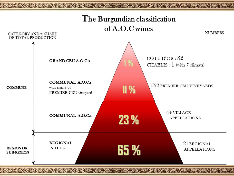T he Burgundian classification of A.O.C wines 23 % COMMUNAL A.O.C.s 44 VILLAGE APPELLATIONS 11 % COMMUNAL A.O.C.s with name of PREMIER CRU vineyard 562 PREMIER CRU VINEYARDS CATEGORY AND % SHARE OF TOTAL PRODUCTION COMMUNE 65 % REGIONAL A.O.C.s REGION OR SUB-REGION 21 REGIONAL APPELLATIONS NUMBERS 1 % GRAND CRU A.O.C.s CÔTE D'OR : 32 CHABLIS : 1 (with 7 climats)