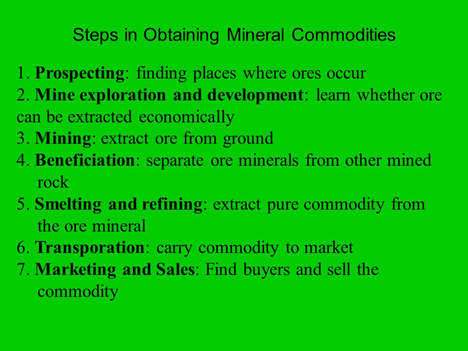 1. Prospecting: finding places where ores occur 2.