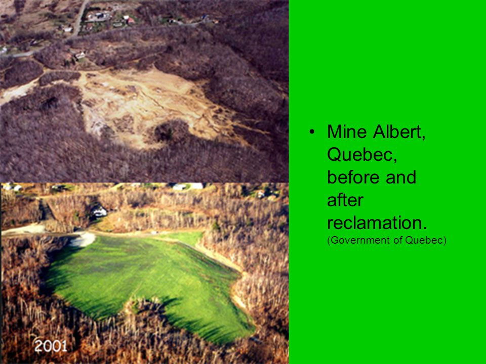 Mine Albert, Quebec, before and after reclamation. (Government of Quebec)