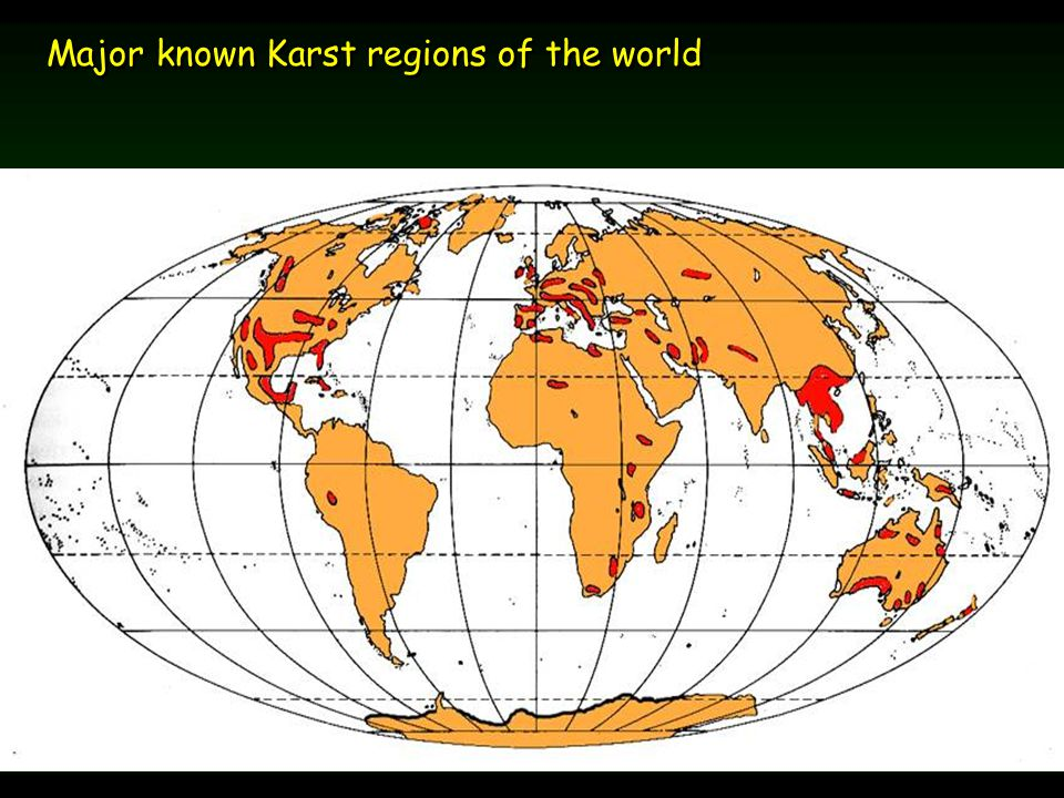 Major known Karst regions of the world