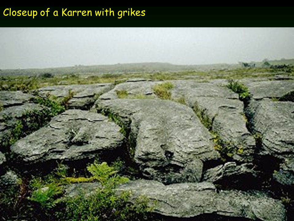 Closeup of a Karren with grikes