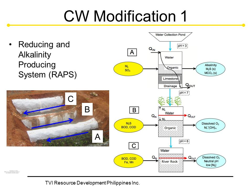 TVI Resource Development Philippines Inc. CW Modification 1 Reducing and Alkalinity Producing System (RAPS) A B C