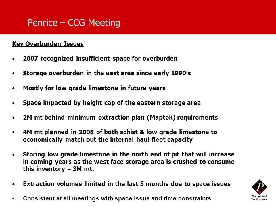 Penrice – CCG Meeting Key Overburden Issues 2007 recognized insufficient space for overburden Storage overburden in the east area since early 1990 ' s