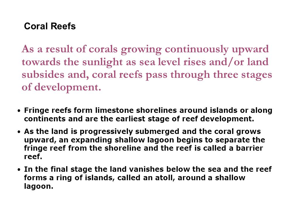 As a result of corals growing continuously upward towards the sunlight as sea level rises and/or land subsides and, coral reefs pass through three stages of development.