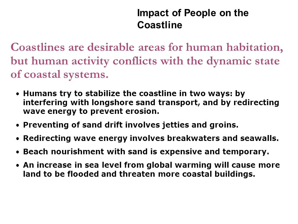 Coastlines are desirable areas for human habitation, but human activity conflicts with the dynamic state of coastal systems.