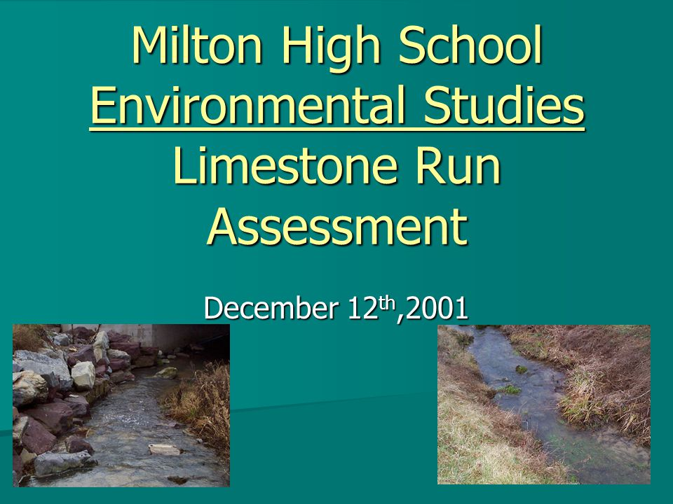 Milton High School Environmental Studies Limestone Run Assessment December 12 th,2001