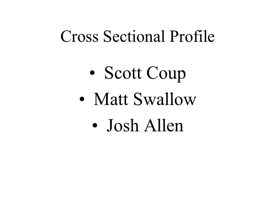 Cross Sectional Profile Scott Coup Matt Swallow Josh Allen
