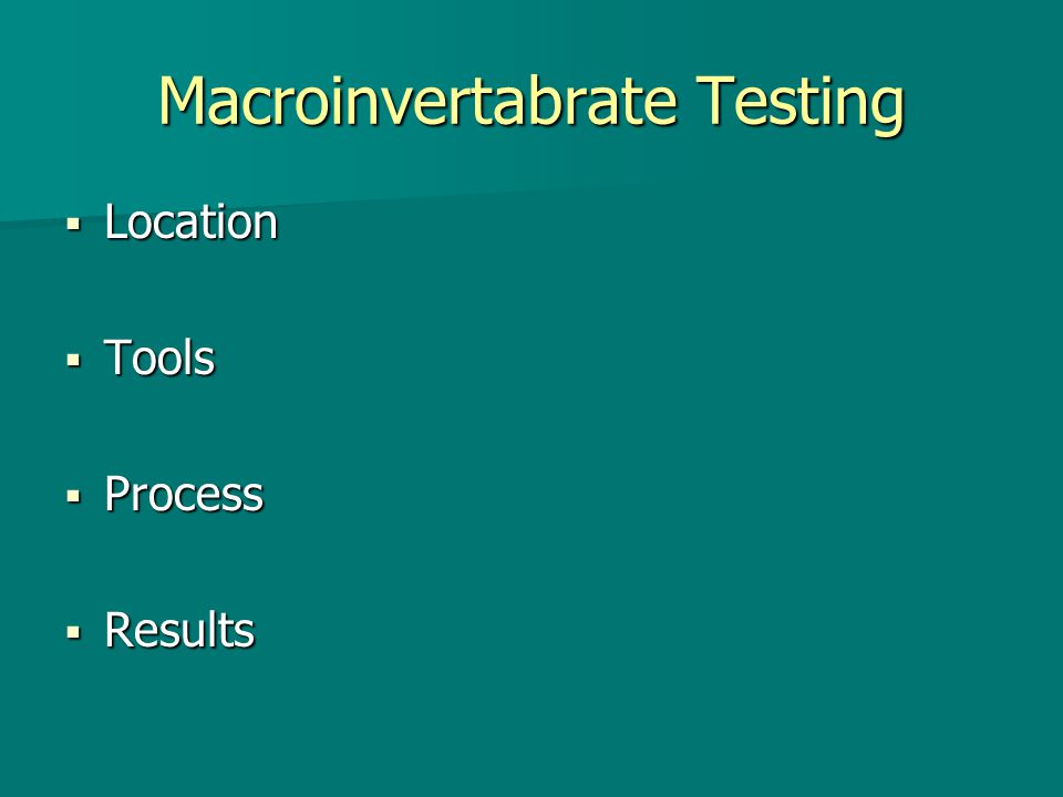 Macroinvertabrate Testing  Location  Tools  Process  Results