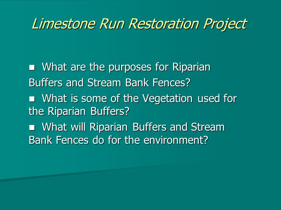 Limestone Run Restoration Project What are the purposes for Riparian What are the purposes for Riparian Buffers and Stream Bank Fences.