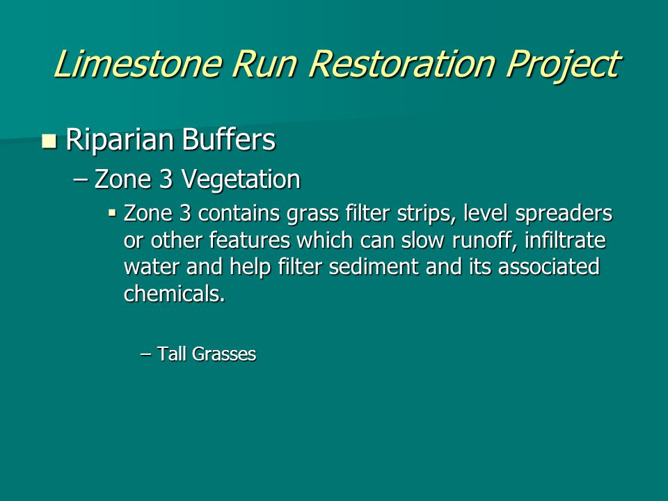 Limestone Run Restoration Project Riparian Buffers Riparian Buffers –Zone 3 Vegetation  Zone 3 contains grass filter strips, level spreaders or other features which can slow runoff, infiltrate water and help filter sediment and its associated chemicals.
