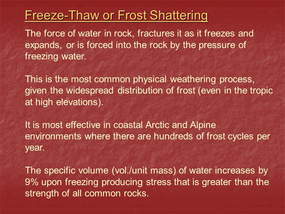 The process of frost shattering and rock displacement on steep slopes