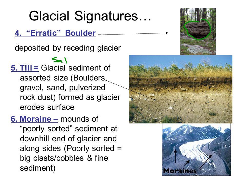 Glacial Signatures… 5. Till = Glacial sediment of assorted size (Boulders, gravel, sand, pulverized rock dust) formed as glacier erodes surface 6. Mor