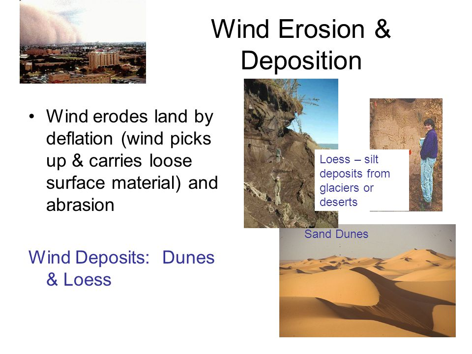 Wind Erosion & Deposition Wind erodes land by deflation (wind picks up & carries loose surface material) and abrasion Wind Deposits: Dunes & Loess San