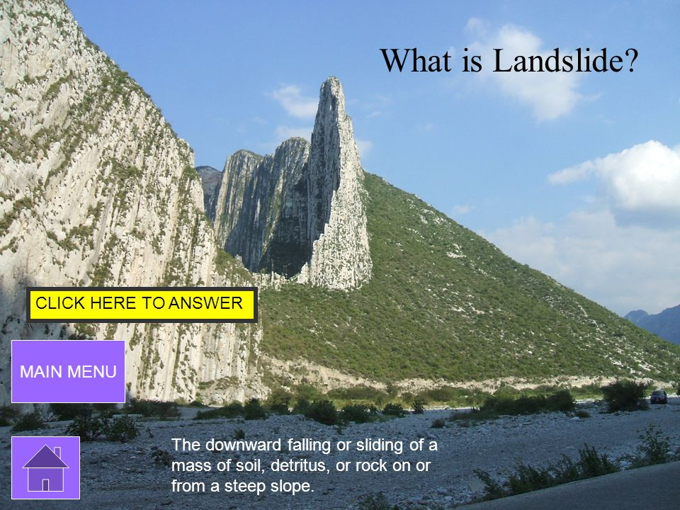 CLICK HERE TO ANSWER MAIN MENU SOlCIALS MENU By: Mariana Fill in the blank: Monterrey is min from the canyon.