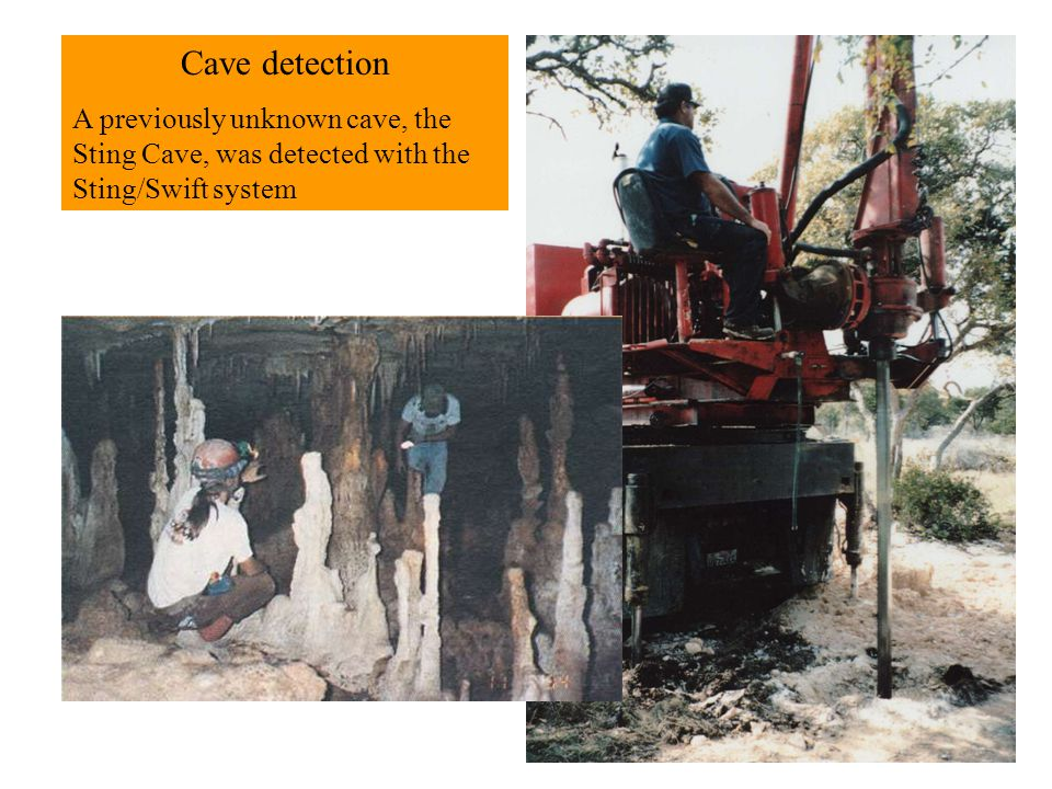 Cave detection A previously unknown cave, the Sting Cave, was detected with the Sting/Swift system