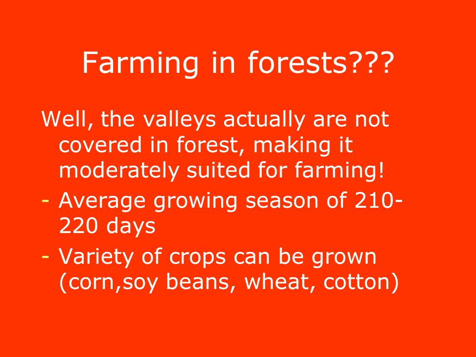 Farming in forests .