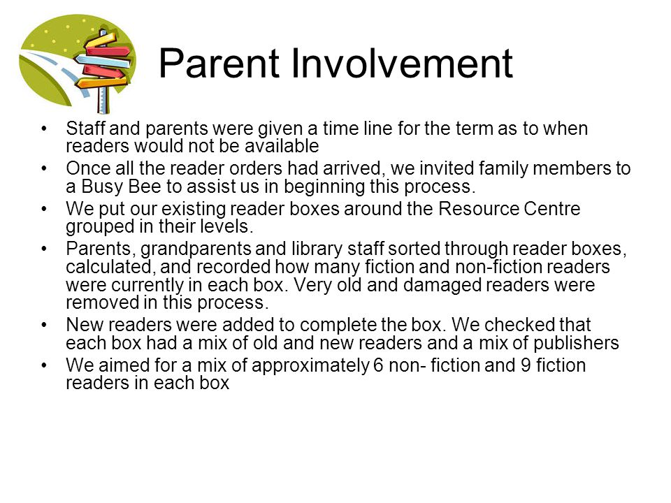 Parent Involvement Staff and parents were given a time line for the term as to when readers would not be available Once all the reader orders had arri