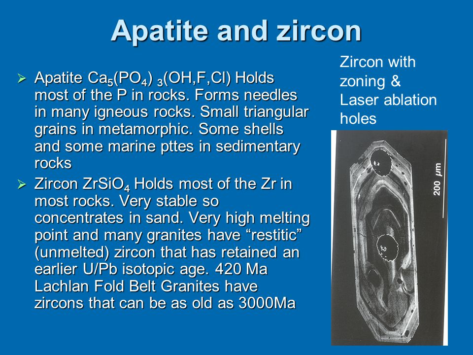 Apatite and zircon  Apatite Ca 5 (PO 4 ) 3 (OH,F,Cl) Holds most of the P in rocks. Forms needles in many igneous rocks. Small triangular grains in me