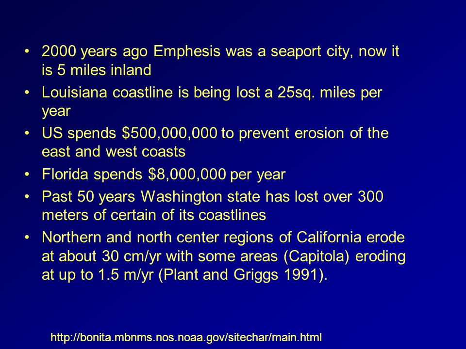 2000 years ago Emphesis was a seaport city, now it is 5 miles inland Louisiana coastline is being lost a 25sq.