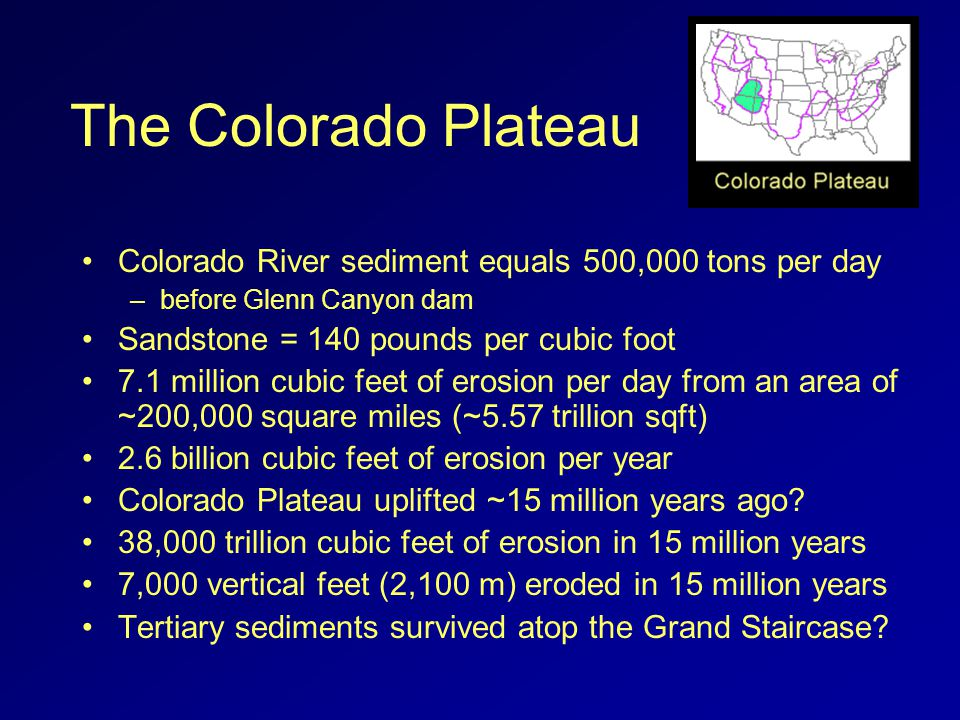 The Colorado Plateau Colorado River sediment equals 500,000 tons per day –before Glenn Canyon dam Sandstone = 140 pounds per cubic foot 7.1 million cubic feet of erosion per day from an area of ~200,000 square miles (~5.57 trillion sqft) 2.6 billion cubic feet of erosion per year Colorado Plateau uplifted ~15 million years ago.